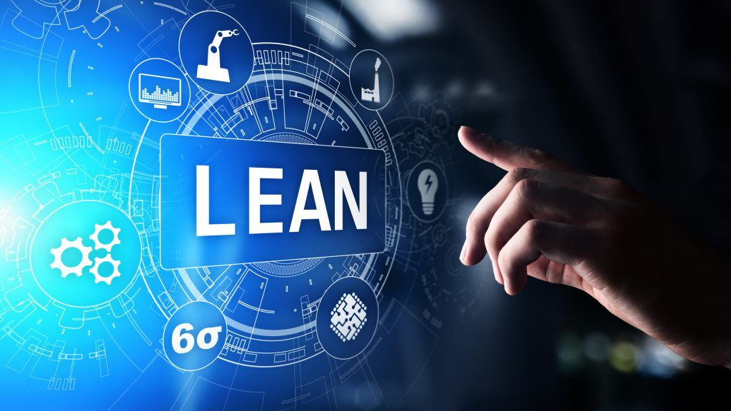 Lean, Six sigma, quality control and manufacturing process management concept on virtual screen